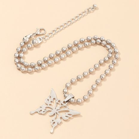 bijoux en métal chaîne de perles rondes collier papillon tour de cou en gros nihaojewelry NHNZ236502's discount tags