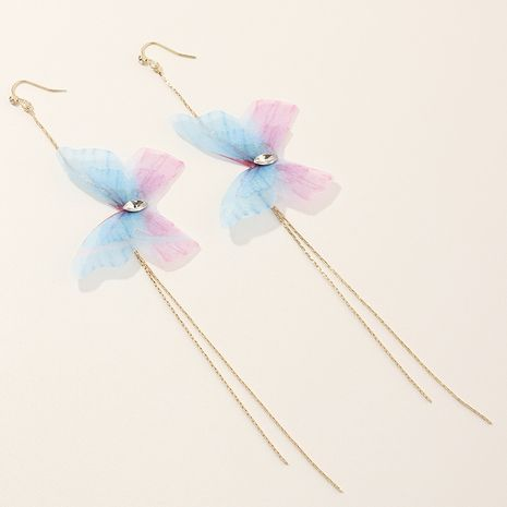 Fashion purple trend exquisite tulle butterfly earrings super fairy long tassel earrings nihaojewelry NHNZ236503's discount tags