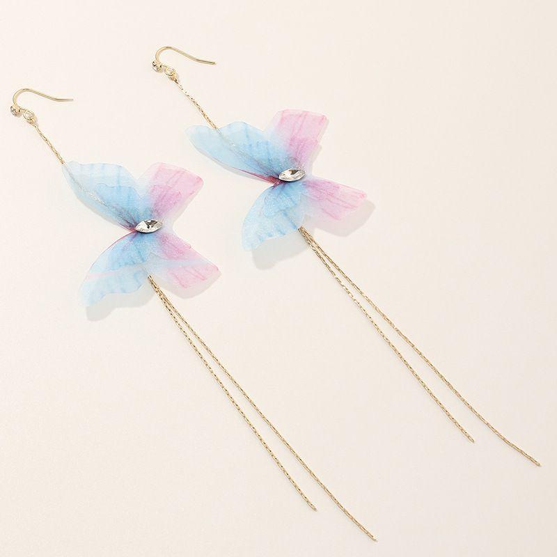 Fashion purple trend exquisite tulle butterfly earrings super fairy long tassel earrings nihaojewelry NHNZ236503