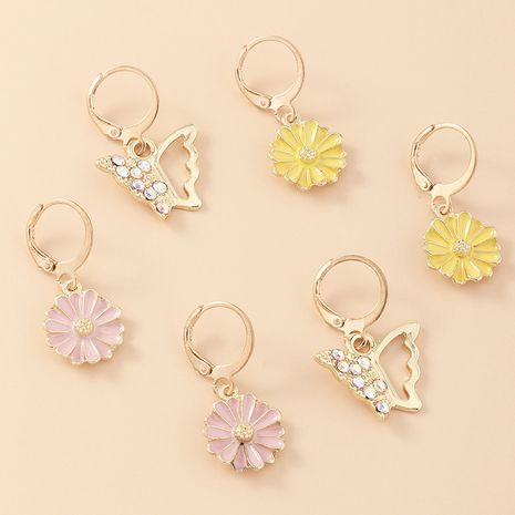 Simple fashion small fresh flowers daisy earring alloy earrings inlaid zircon butterfly earrings women wholesale nihaojewelry NHNZ236505's discount tags
