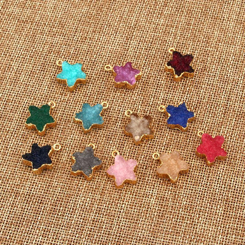 new products DIY resin handmade small stars single hanging double jewelry imitation natural stone wholesale nihaojewelry NHGO236523