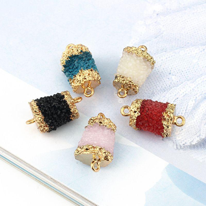 new product DIY resin double circle accessories handmade jewelry imitation natural stone bracelet wholesale nihaojewelry NHGO236530