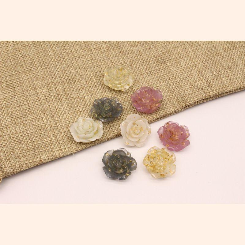 new DIY rose flower resin pendant earrings handmade jewelry plant accessories imitation natural stone wholesale nihaojewelry NHGO236538
