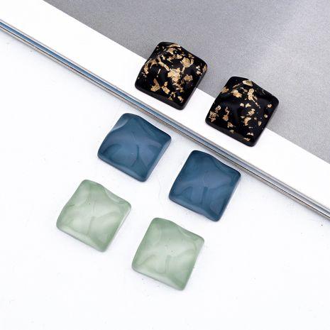 nouveau bricolage rétro géométrique carré ondulation de l'eau feuille d'or bijoux faits à la main résine accessoires imitation pierre naturelle en gros nihaojewelry NHGO236539's discount tags