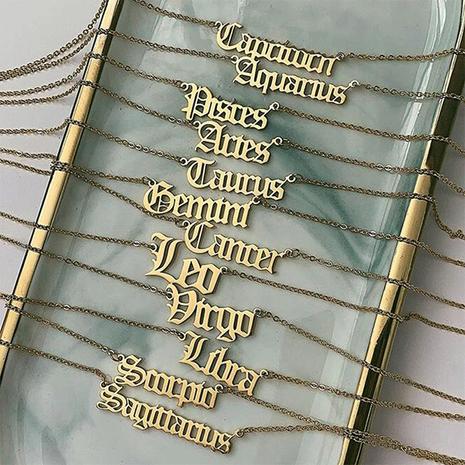 Bijoux 12 Constellation Pendentif 316L Titane Acier Plaqué Or Collier en gros nihaojewelry NHTF236540's discount tags
