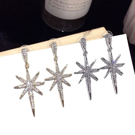 Korean fashion wild zircon pearl snowflake star earrings trend silver needle earrings exquisite earrings nihaojewelry NHFT236541's discount tags