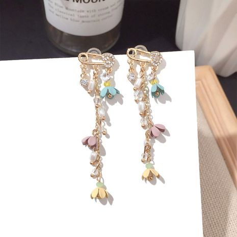 Simple fashion trend tassels all-match earring girl earring silver pin earring golden nihaojewelry NHFT236548's discount tags
