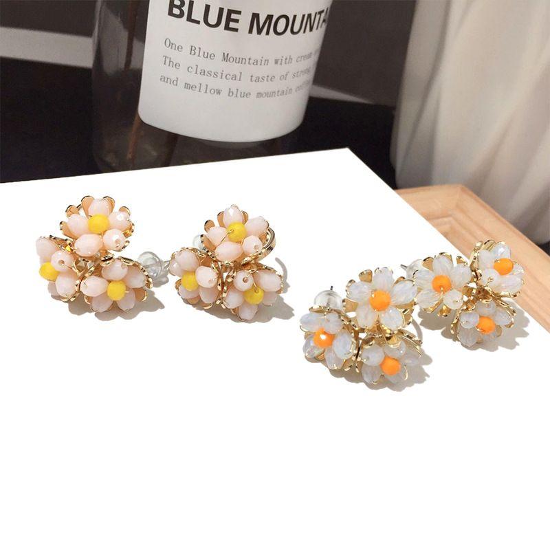 Cute fashion wild little white flower earring silver pin earring orange earring yellow ear accessory nihaojewelry NHFT236549