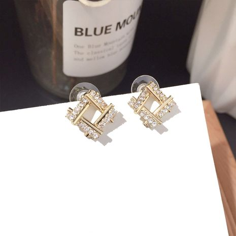 Korean earrings fashion simple diamond small square wild earrings silver needle alloy earrings nihaojewelry NHFT236552's discount tags