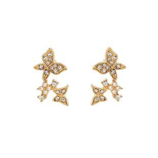 new ear jewelry s925 silver needle diamond pearl butterfly earrings wholesale nihaojewelry NHOA236570's discount tags