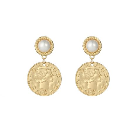 Fashion trend golden all-match s925 silver needle earrings retro round portrait earrings coin earrings nihaojewelry NHOA236573's discount tags