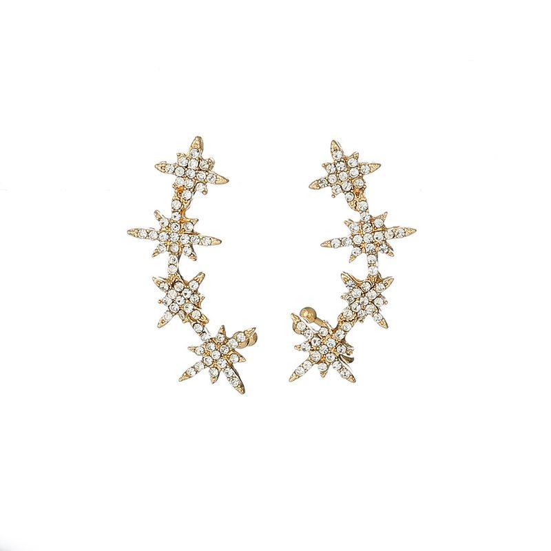 new earrings s925 silver needle diamond snowflake star earrings eight-pointed star ear bone clip wholesale nihaojewelry NHOA236574
