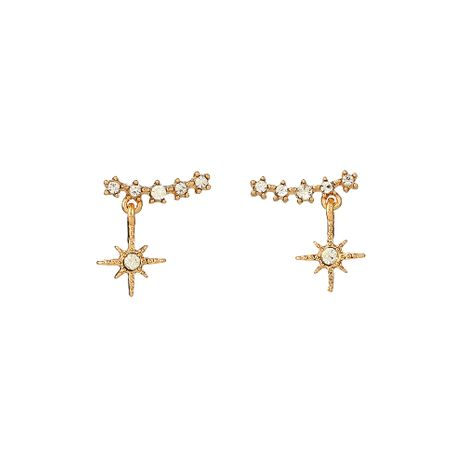 Fashion golden simple s925 silver needle earrings alloy earring exquisite geometric diamond-studded snowflake earrings wholesale nihaojewelry NHOA236579's discount tags