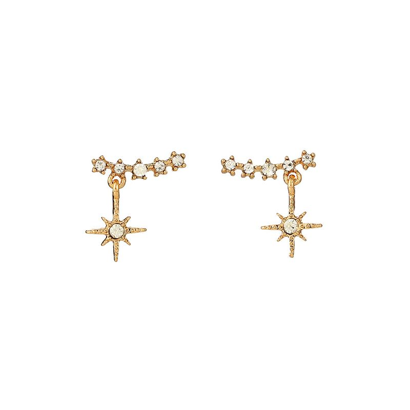 Fashion golden simple s925 silver needle earrings alloy earring exquisite geometric diamond-studded snowflake earrings wholesale nihaojewelry NHOA236579