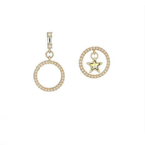 new S925 silver needle earrings round pearl small earrings five-pointed star asymmetric earrings wholesale nihaojewelry NHOA236583's discount tags