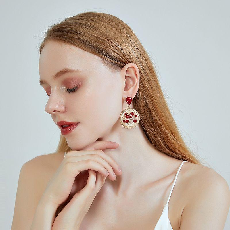 new 925 silver needle earrings geometric inlaid pearl jewel earrings hollow tree of life earrings wholesale nihaojewelry NHOA236585
