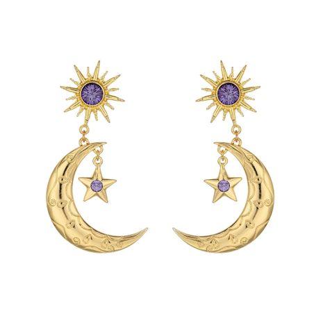 hot selling earrings fashion purple earrings alloy diamond star moon earrings wholesale nihaojewelry NHOA236592's discount tags