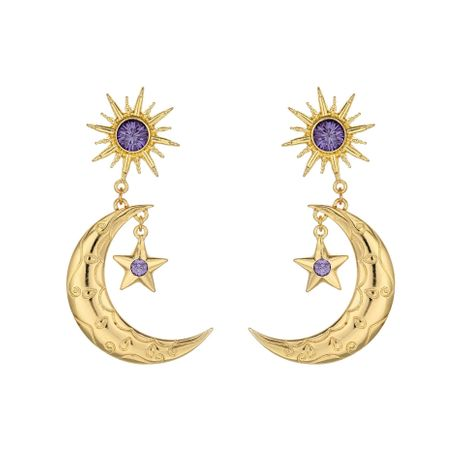 hot selling earrings fashion purple earrings alloy diamond star moon earrings wholesale nihaojewelry NHOA236592's discount tags