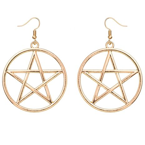 Fashion trend simple exquisite metal circle big five-pointed star six-pointed star earrings wholesale nihaojewelry NHOA236594's discount tags