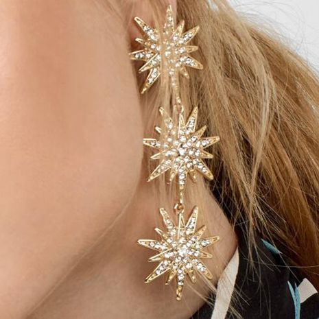 new diamond snowflake earrings long tassel eight-pointed star earrings wholesale nihaojewelry NHOA236597's discount tags