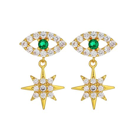 Fashion exquisite trend Demon Eye Earrings Snowflake Diamond Stud Earrings Star Short Earrings nihaojewelry NHOA236602's discount tags