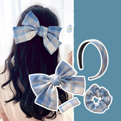 Big bow hairpin all-match creative hair ring uniform fabric headband suit lattice hairpin wholesale nihaojewelry NHNA236460's discount tags