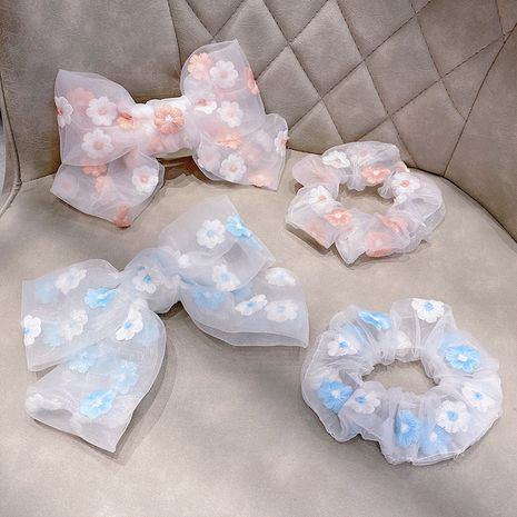 Small daisy blue hair ring pink big bow hairpin lace tie hair rubber band wholesale nihaojewelry NHNA236464's discount tags