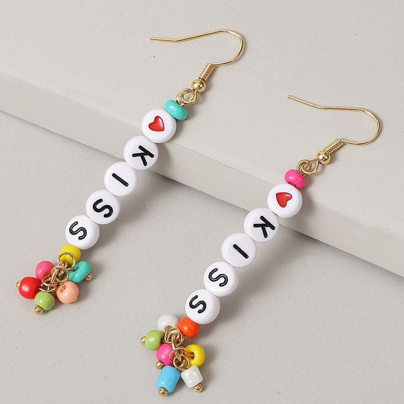 creative long KISS rice beads letter earrings trend handmade beaded earrings jewelry wholesale nihaojewelry NHLA236629
