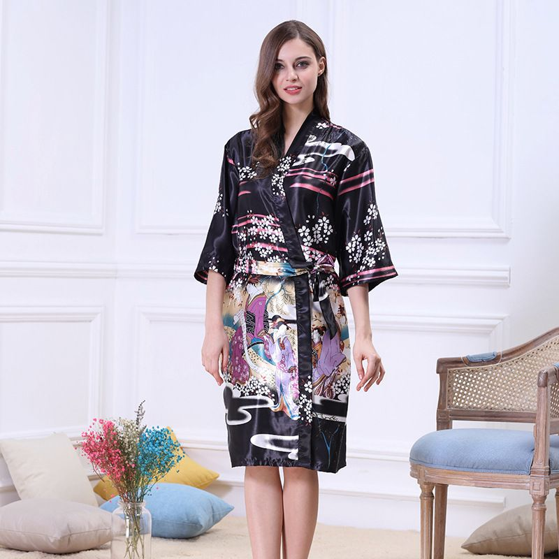 beauty robe mid-sleeve silk plus size pajamas ladies summer silk single wholesale nihaojewelry NHJO236653