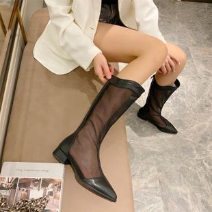 Korean autumn new hollow boots women's mesh thick heel pointed high boots of women nihaojewelry NHHU236726's discount tags