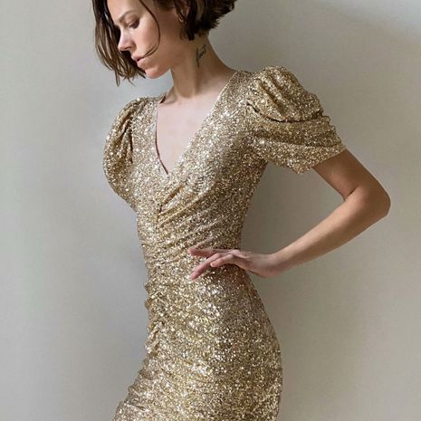 plis de paillettes d'été enveloppé robe mince en gros nihaojewelry NHAM236729's discount tags