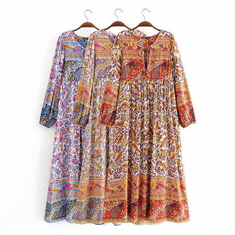 impression de rayonne d'été frangée robe bohème à manches longues en gros nihaojewelry NHAM236732's discount tags