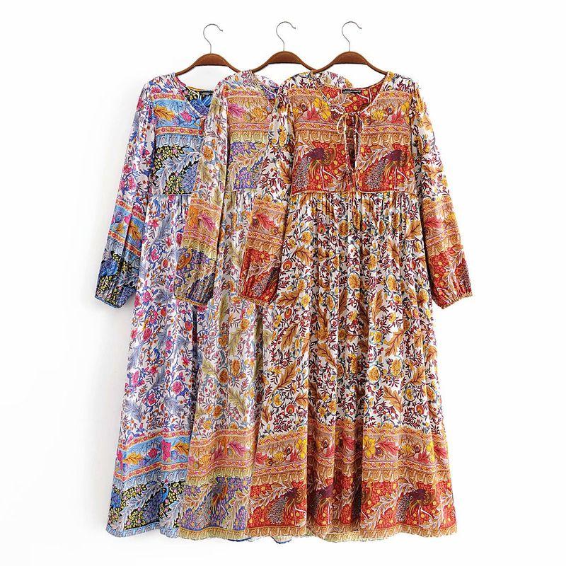 summer rayon printing fringed long sleeve bohemian dress wholesale nihaojewelry NHAM236732