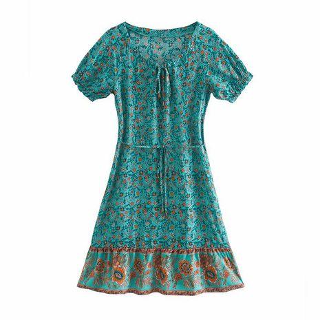 été rayonne vacances impression robe à manches courtes en gros nihaojewelry NHAM236738's discount tags