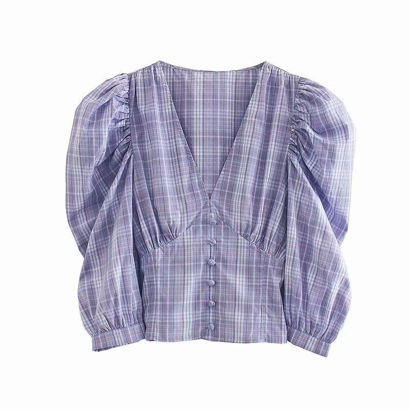 summer Vneck lantern sleeve short blouse wholesale nihaojewelry NHAM236765