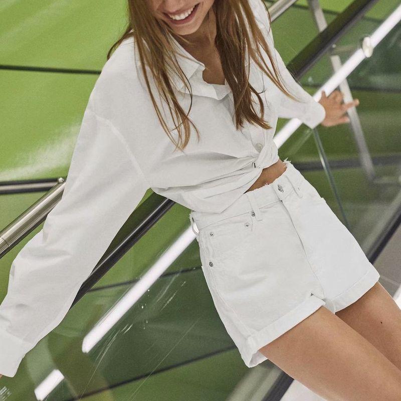 summer knotted poplin blouse top wholesale nihaojewelry NHAM236773