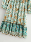 womens new Vneck positioning printing longsleeved laceup dress wholesale nihaojewelry NHAM236785