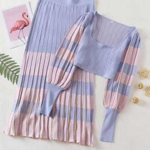 summer square neck slimming knit sweater knitted pleated skirt suit wholesale nihaojewelry NHAM236803's discount tags