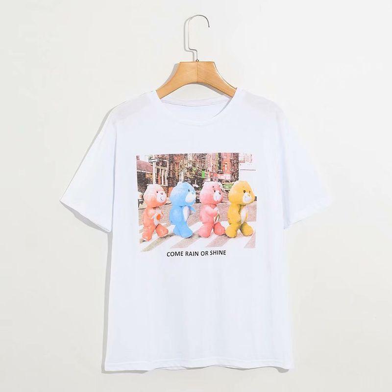 summer new ladies love bear print short-sleeved T-shirt wholesale nihaojewelry NHAM236805