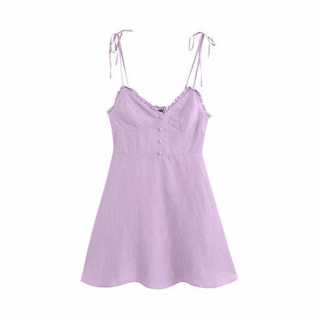 Mini robe d'été en lin violet pour fille en gros nihaojewelry NHAM236810's discount tags