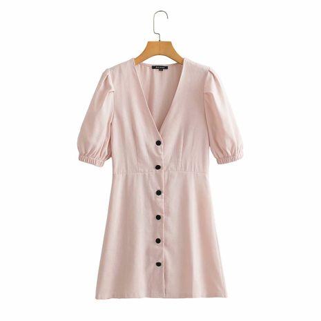 mode slim minceur robe boutonnée à manches bouffantes col en V en gros nihaojewelry NHAM236811's discount tags