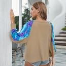 Fashion hit color tiedye stitching autumn longsleeved Tshirt for women nihaojewelry NHKA236815