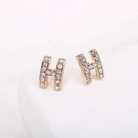 Mode S925 Argent Aiguille Lettre H Boucles D'oreilles En Alliage De Diamant Complet Coréen Pop Boucles D'oreilles Douces Nihaojewelry NHQS236829's discount tags