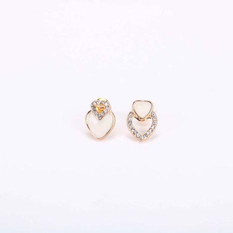 Mode vente chaude coréenne s925 argent aiguille amour boucles d'oreilles goutte d'huile diamant boucles d'oreilles asymétriques pour femmes NHQS236830's discount tags
