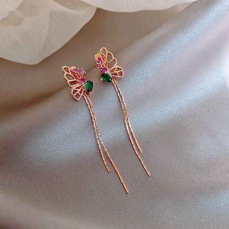Fashion niche green crystal butterfly earrings new  alloy earrings nihaojewelry NHXI236861's discount tags