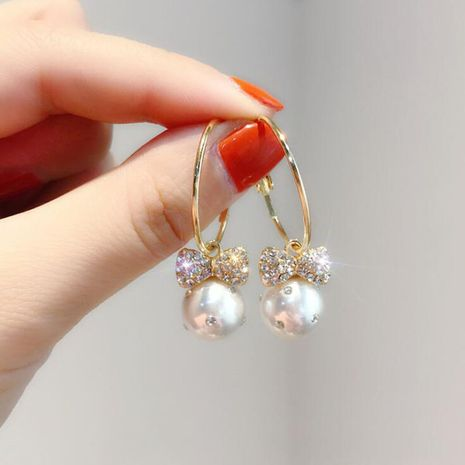 Mode Bowknot gland longues boucles d'oreilles coréen S925 boucles d'oreilles en alliage d'aiguille d'argent nihaojewelry en gros NHXI236862's discount tags