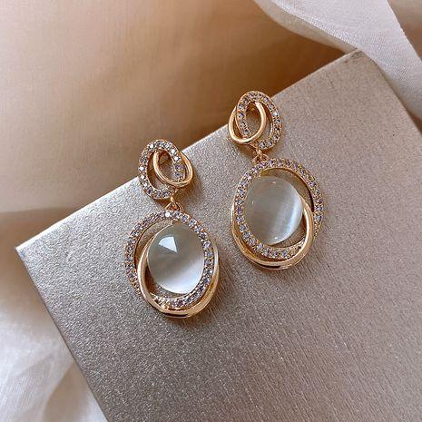 Boucles d'oreilles coréennes ovales ovales en alliage de mode 925 aiguilles en argent boucles d'oreilles simples pour femmes nihaojewelry en gros NHXI236863's discount tags