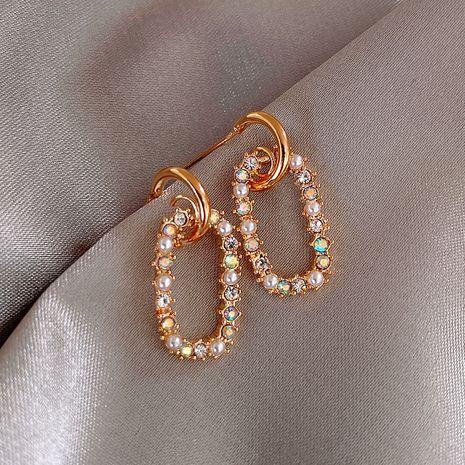 Mode 925 argent aiguille bague perle coréenne boucles d'oreilles géométriques sauvages nihaojewelry en gros NHXI236869's discount tags