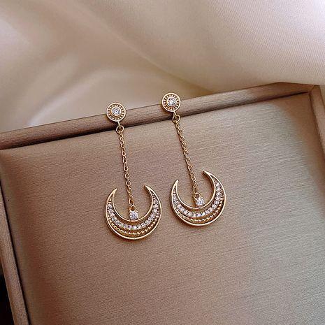 Mode 925 argent aiguille déesse de la lune boucles d'oreilles longues pompon des femmes coréennes nihaojewelry en gros NHXI236870's discount tags
