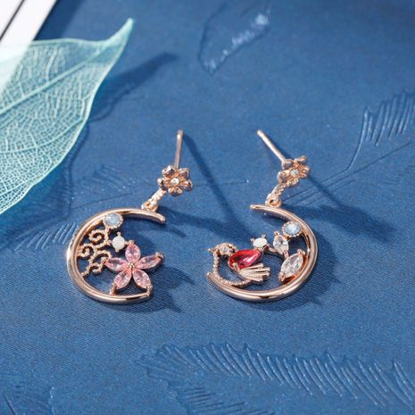Fashion S925 Silver Needle Korea Micro-inlaid Zircon Flower Bird Asymmetric Moon Earrings nihaojewelry wholesale  NHXI236872's discount tags